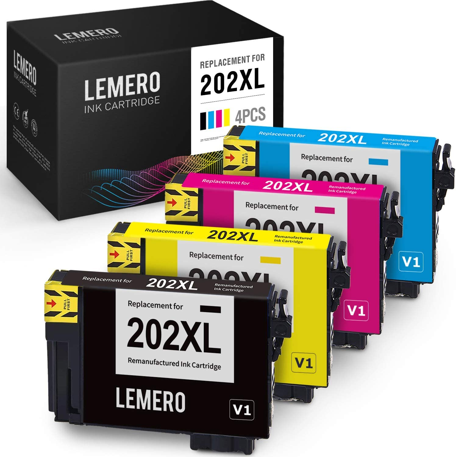 LEMERO V1 Version Remanufactured Ink Cartridge Replacement for Epson 202 202XL to use with Workforce WF-2860 Expression Home XP-5100 (Black Cyan Magenta Yellow, 4 Pack)