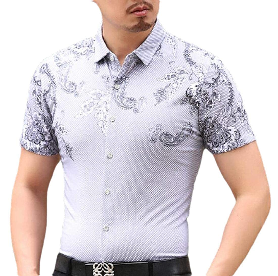 Mens Summer Slim Print Button-Down Dress Shirts Short Sleeves Shirt