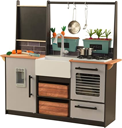 Amazon Com Kidkraft Kidkraft Wooden Farm To Table Play Kitchen With Ez Kraft Assembly Lights Sounds Ice Maker And 18 Accessories Gift For Ages 3 Toys Games