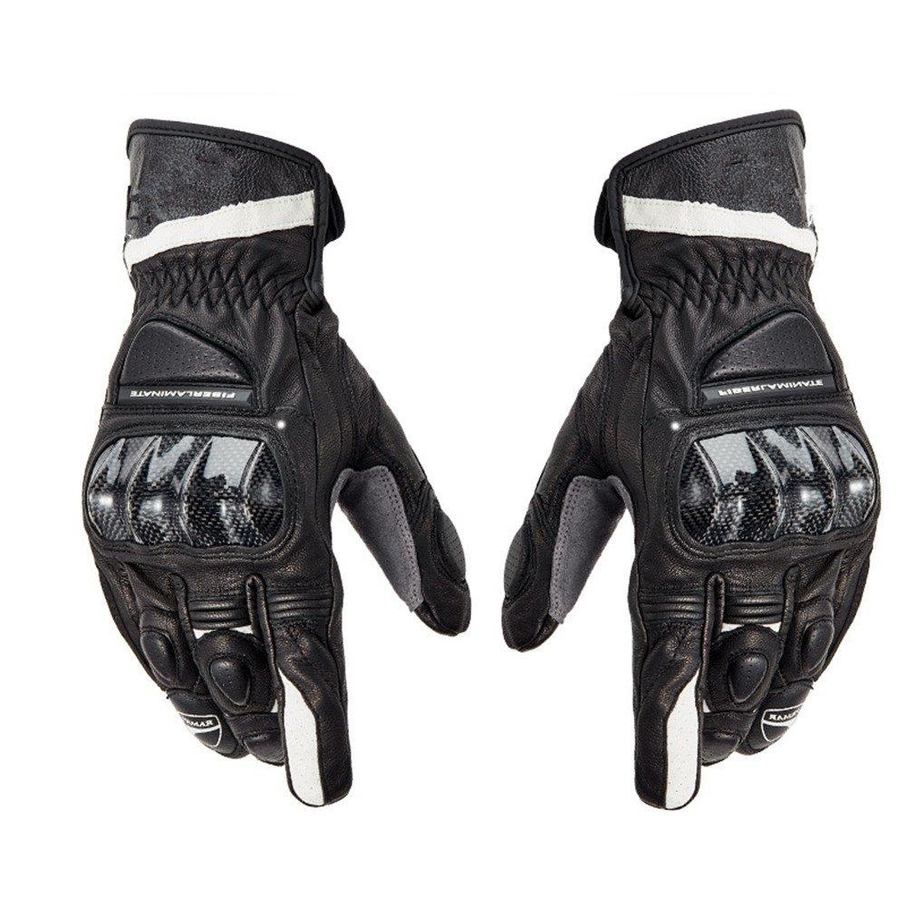 QARYYQ Winddichte Motorradhandschuhe Aus Vier Jahreszeiten Leder-Motorradhandschuhe, Schwarz Handschuh (größe   XL)