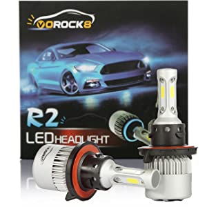 R2 COB H13 9008 8000LM LED Headlight Conversion Kit, Hi/Lo beam headlamp, Dual Beam Head Light, Halogen Head light Replacement, 6500K Xenon White, 1 Pair- 1 Year Warranty