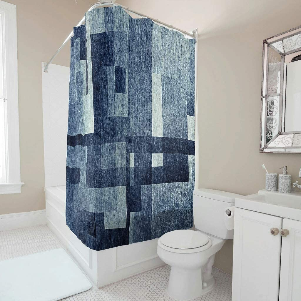 DDM-857 Waterproof Geometric Patterns Shower Curtain Unique - Bathroom Curtain with Hooks Decor for Bathtubs White 72x72inch