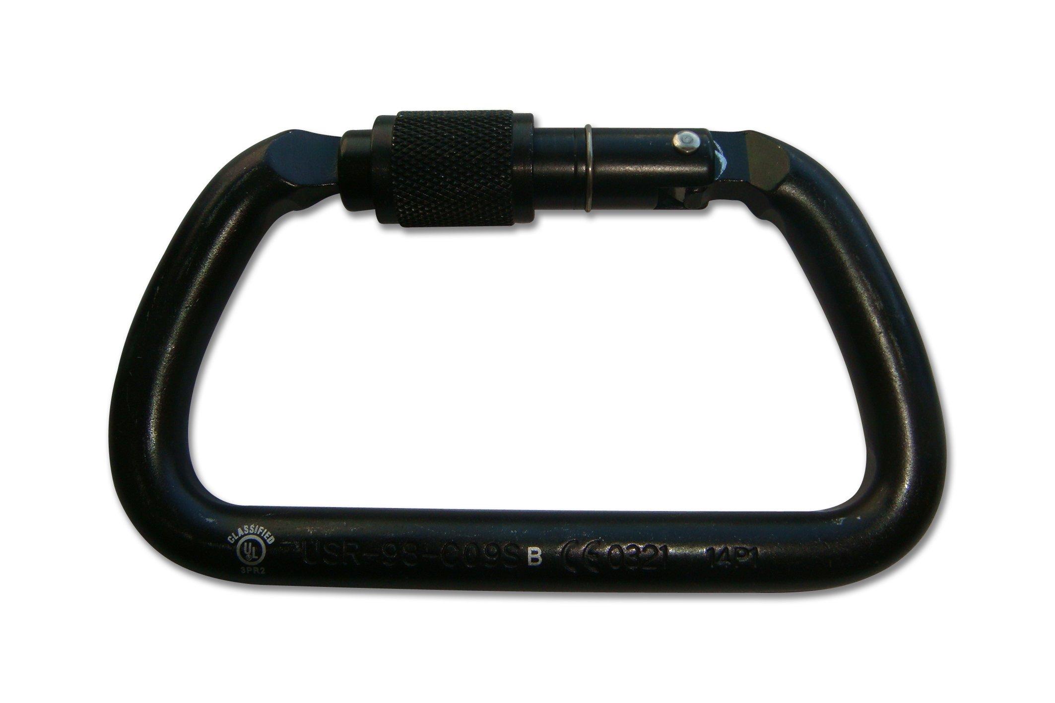 ProClimb USR-98-C09SB NFPA D Carabiner Screw Lock, Zink Plated Finish, Large, Black