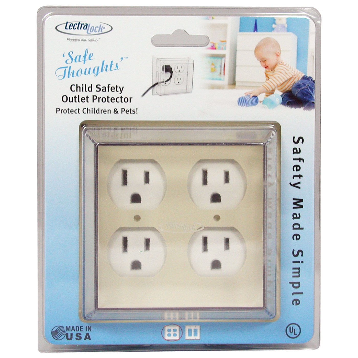 LectraLock - Baby Safety Electrical Outlet Cover - Double - Duplex Style - Deep Cover