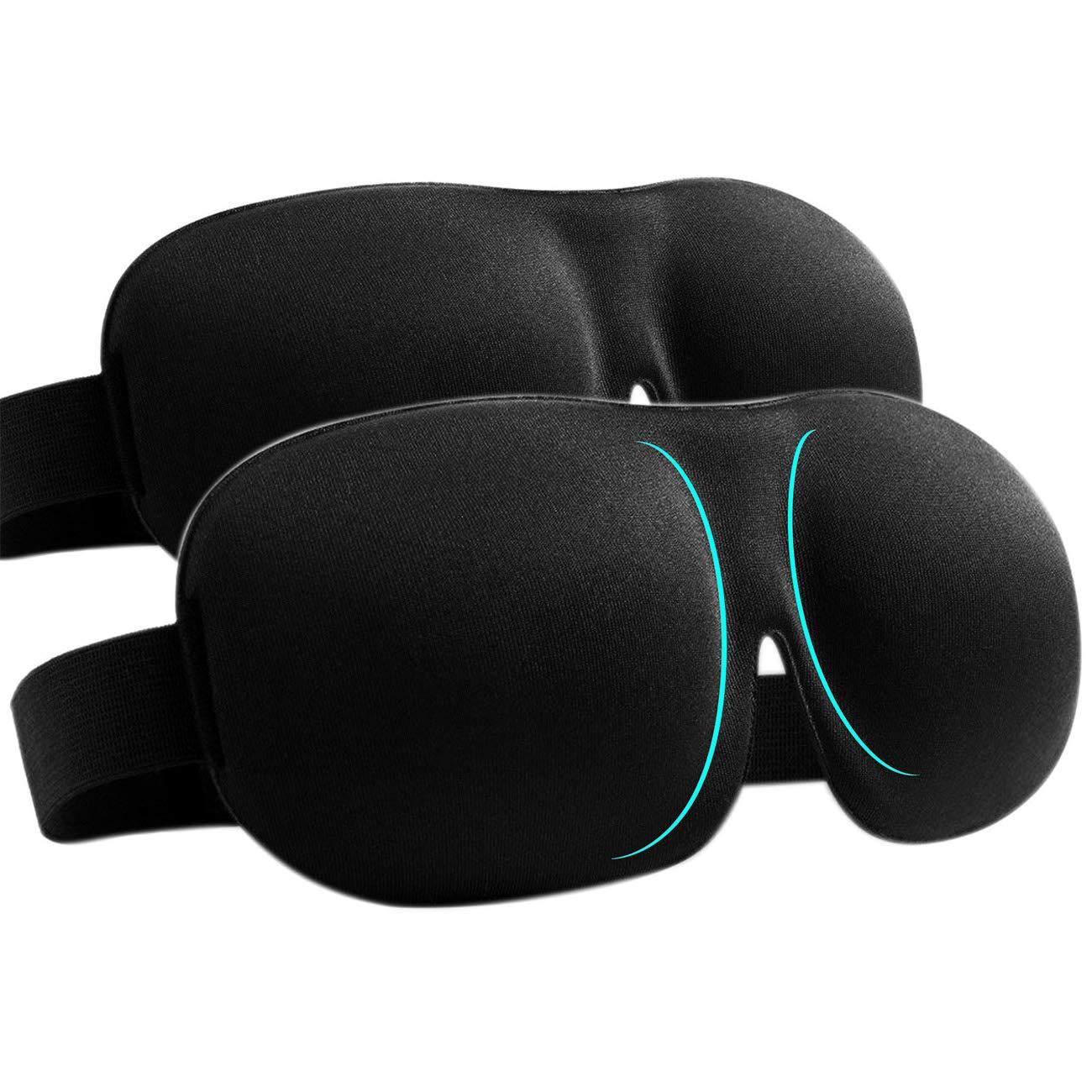 Sleep Mask Pack of 2 Eye Mask for Sleeping with Adjustable Strap 3D Contoured Sleeping Mask, Lightweight & Soft Blackout Blindfold for Travel, Shift Work & Meditation, Black