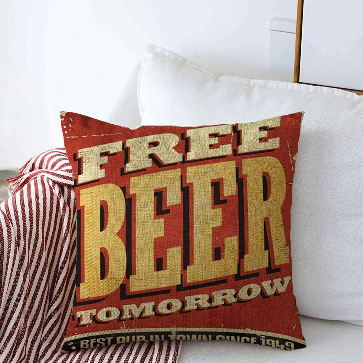 Staroden Throw Pillows Cover 18 x 18 Inches Red Diner Ale Cheers Retro Free Beer Tomorrow Vintage Tin Food Drink Pub Bar Alcohol Quote Old Tavern Cushion Case Cotton Linen for Fall Home Decor