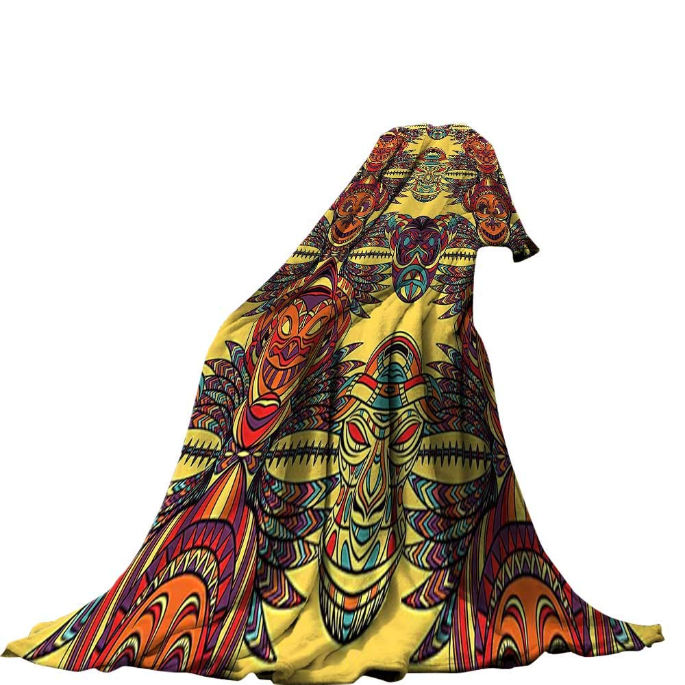 color05 80 x60  QINYAN-Home Super Soft Lightweight Blanket (60 x36  Summer Quilt Comforter Tribal Ethnic African Design with Bold Lines Geometric Triangles Artwork Image Black orange and White.