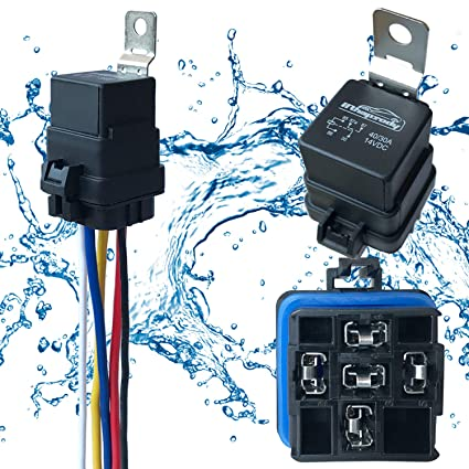 1 pack 40 30 amp 12 v dc waterproof relay and harness heavy duty 12 awg tinned copper wires, 5 pin spdt bosch style automotive relay 3 Pin Wire Harness