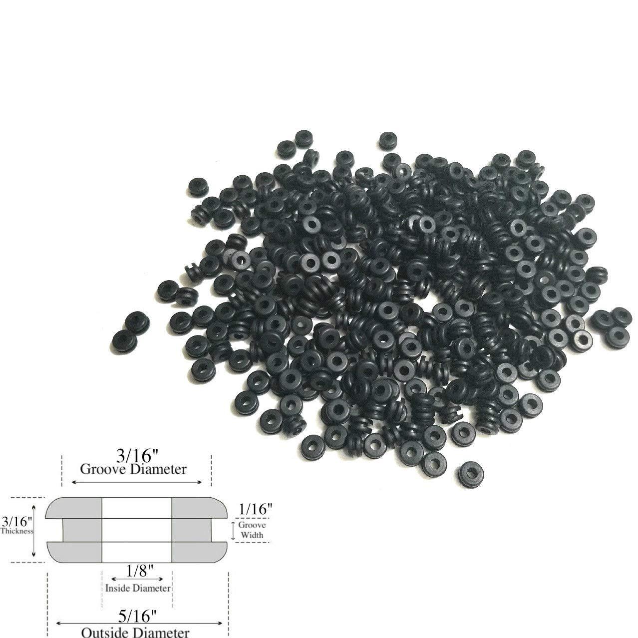 Lot of 100 Rubber Grommets 1/8'' Inside Diameter - 1/16'' Gw - Fits 3/16'' Holes