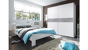 Schlafzimmer Set Victor 2 Vega Schwebeturenschrank Und Bett In Weiss
