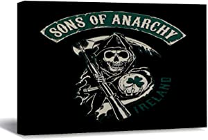 """Canvas Prints Sons of Anarchy Finale Wood Framed Canvas Wall Art Home Office Decor Ready to Hang 12""""x16"""""""