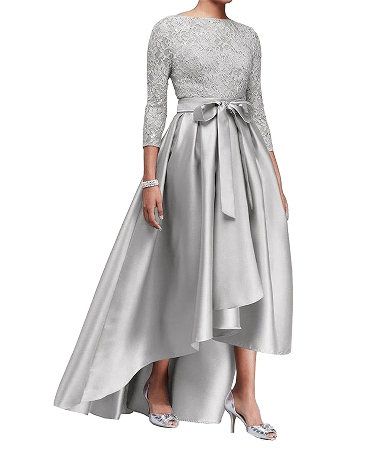 Women Champagne Mother of The Bride Dresses Hi-Low 3//4 Sleeve Formal Evening Dress