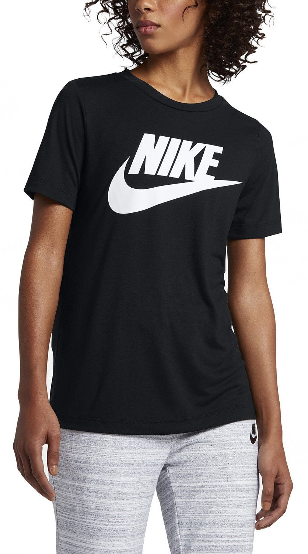 Nike Sportswear Essential Women's Logo Short Sleeve Top B01FVORWE6 Large|Black/White