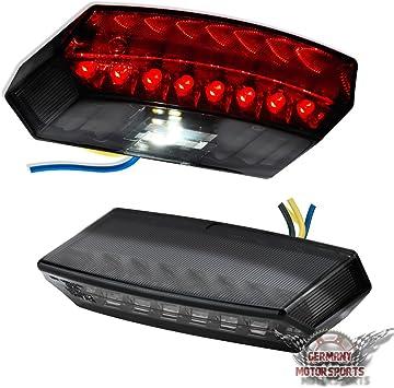 Motorrad Kennzeichenbeleuchtung Universal Schwarz LED Roller R/ücklicht Emark