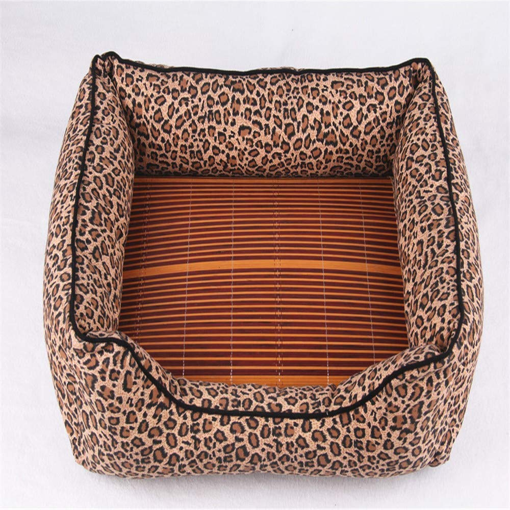 M Pet Dog Bed-Best Friends Portable Kennel Indoor Outdoor Washable Canvas Leopard Print Large, M
