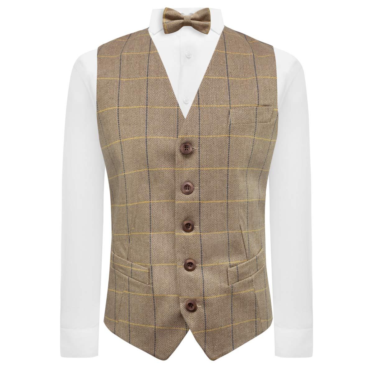 King /& Priory Light Oak Brown Herringbone Check Waistcoat Tweed