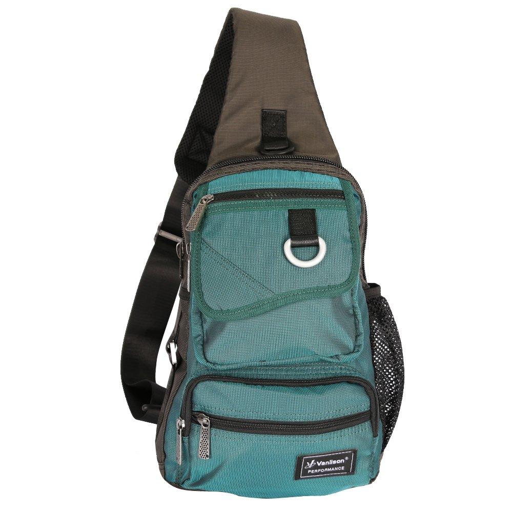 Vanlison Sling Bag Chest Shoulder Backpack Crossbody Multipurpose Daypack For Men Women Black