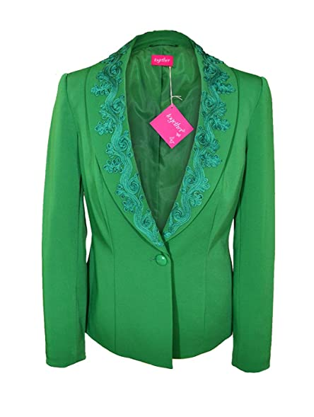 New Womens Ladies Tailored Jacket Blazer Emerald Green Fitted Size ...