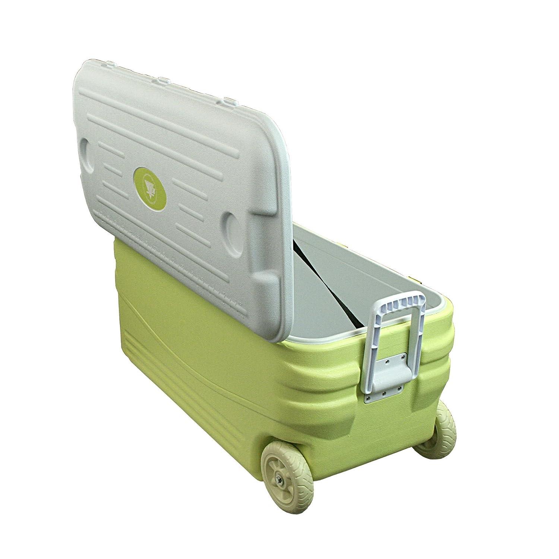 kalt XXL Isolierbox auf Rollen Gr/ün 10T K/ühlbox Fridgo 100L passive Thermobox PU K/ühlbeh/älter warm