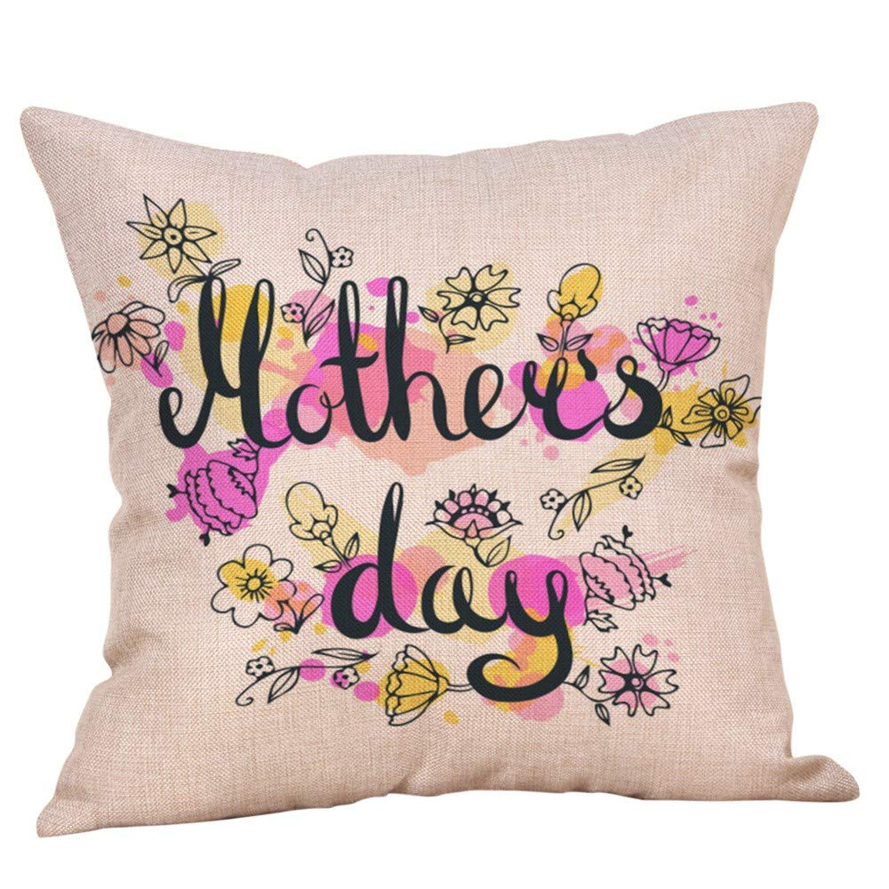 Pillow case Protector with Zipper,EOWEO Happy Mothers' Day Pillow Cases Sofa Cushion Cover Home Decor Pillow Case(45cm×45cm,Multicolor-L)