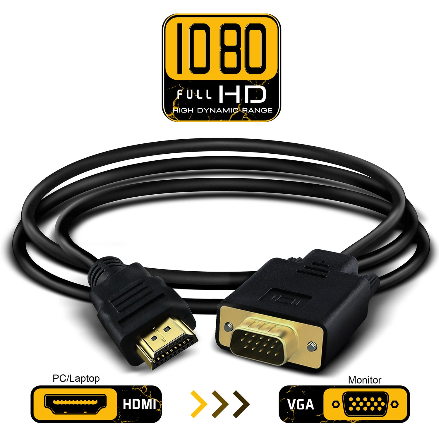 Full 1080p HDMI to VGA Video Converter Adapter Cable Male to Male D-SUB 15 Pin M/M Full 1080P with 3.5mm Audio Output One-way Signal Converter-1.8m/6ft Loopelectronic LOhdmi20161107