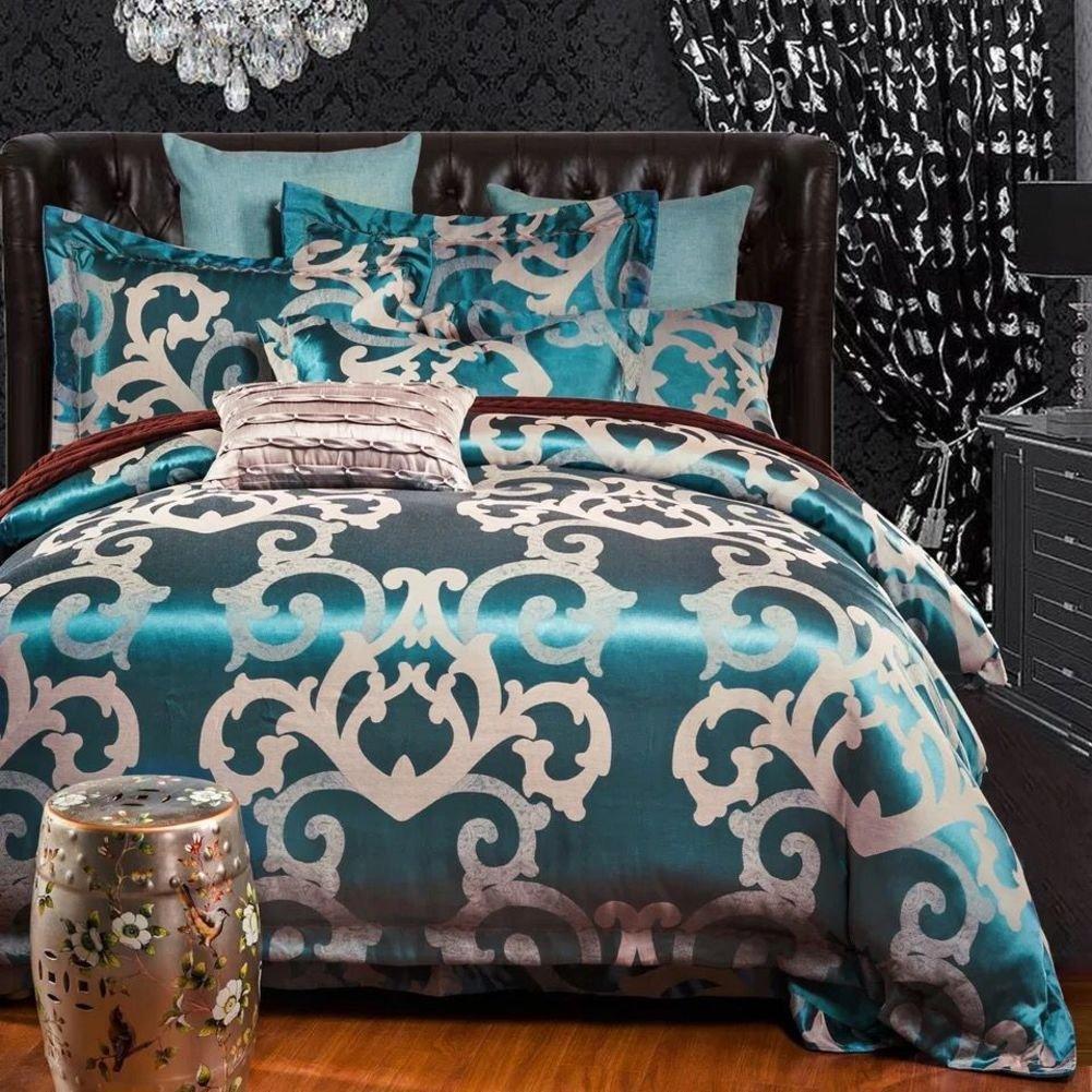 Nclon [summer] Princess Style Jacquard 100% cotton Duvet cover set,Four set of duvet cover Bed set bedding Bed linen 100% cotton Quilt cover Girl [silk] [satin] Jacquard-H King