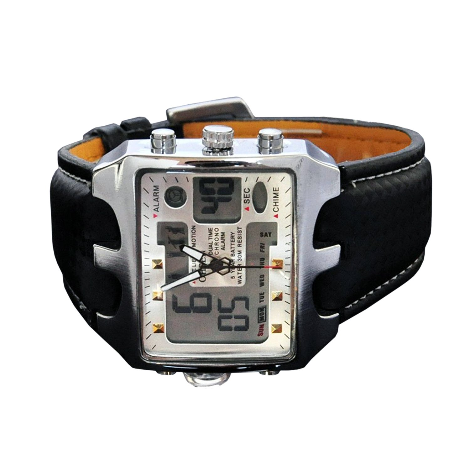 ... Big Square Face LED Dual Time Analog Digital Light Up Dial Stopwatch Leather Band Relojes Deportivos de Hombre Cronometros Wacht Hombre OH-112: Watches