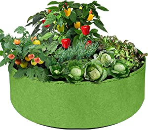 IWNTWY 100 Gallon Large Grow Bag, Heavy Duty Fabric Round Raised Garden Bed Planter Pots for Planting Herb Flower Vegetable Potato Plants (50