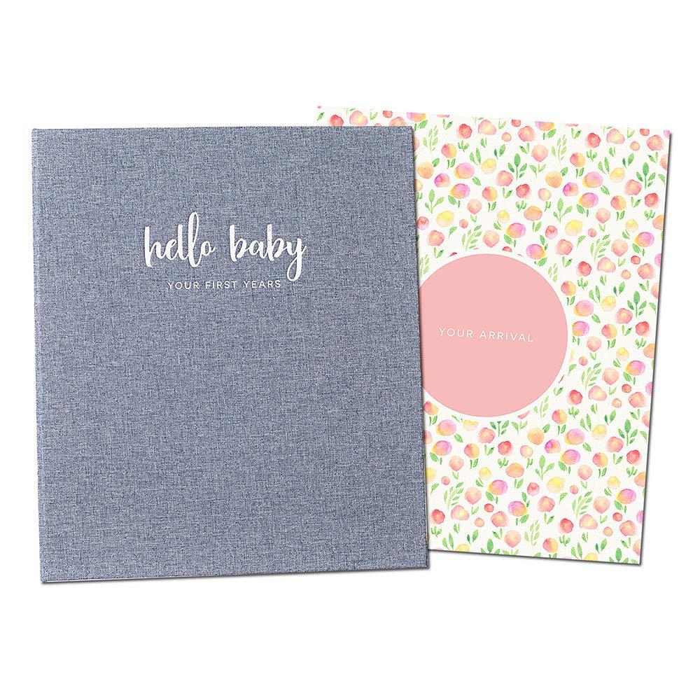 Peachly Minimalist Baby Memory Book for Girls Milestone Keepsake Journal | First Five Years Baby Girl Memory Book | Baby Keepsakes First Year Memory Book | Baby Girl Baby Book | Grey Linen Botanica