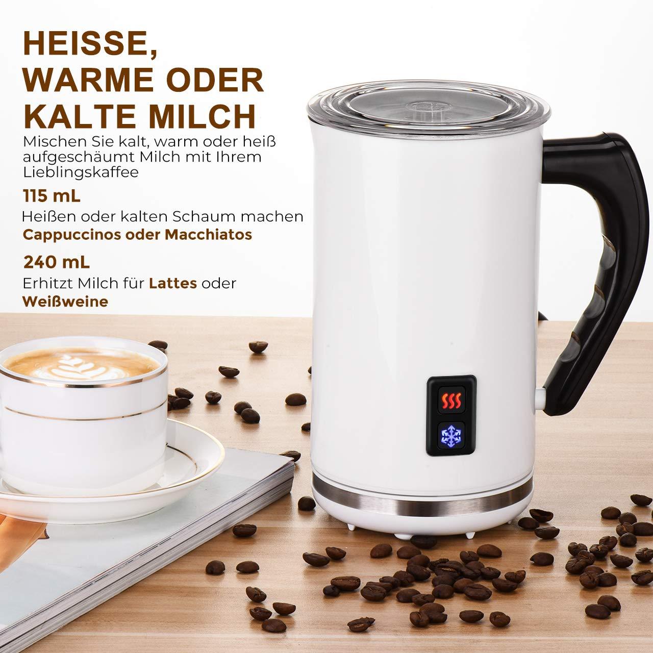 Milch erw/ärmen 2 Schneebesen Erhitzen- Wei/ß 500W automatische Milchsch/äumer f/ür Kaffee Homitt Milchaufsch/äumer Milchaufsch/äumer elektrisch Milch warm und kalt aufsch/äumen