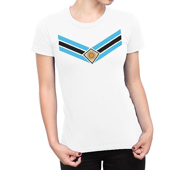 De Las Mujeres Argentina Team Emblem Señoras Fútbol Camiseta Copa del mundo2018 Retro Sports