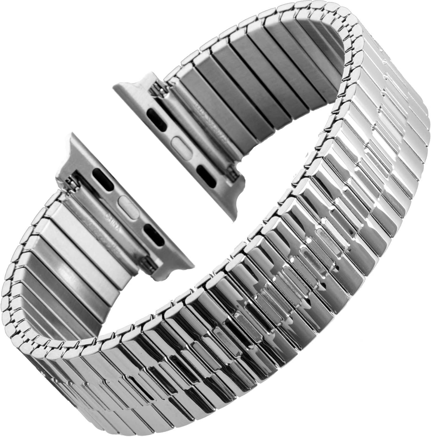Gilden for Apple 38mm/40mm 42mm/44mm Expansion Wide Stainless Steel Metal Watch Band 552W-SL-SMART (Extra Long fits 38mm/40mm Apple Watch, Stainless Steel)