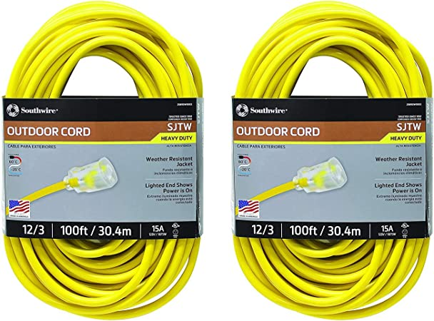 AmazonBasics 12//3 Heavy Duty SJTW Lighted Extension Cord Yellow 1 Foot Set of 2