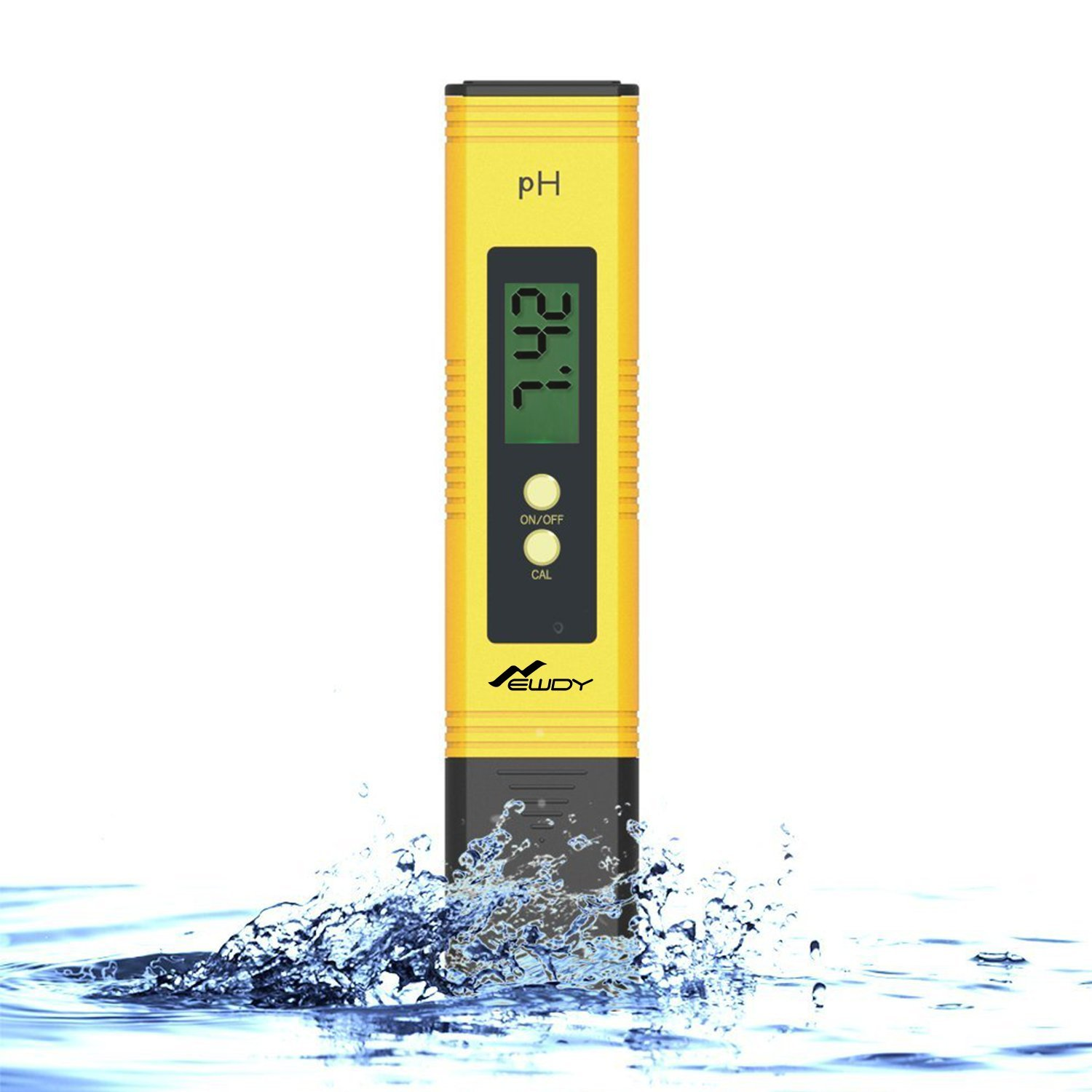 Newdy Digital PH Meter Tester for Water Quality, Food, Aquarium, Pool & Hydroponics,0.01/High Accuracy +/- 0.05 and 0.00-14.00 Measurement Range, Large LCD Display Battery Included -Yellow