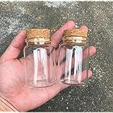 Dealglad - Mini Botellas de Vidrio, Tarros con Tapones de Corcho / Mensajes, Bodas, Deseos, Joyería, Recuerdos de Fiesta., vidrio, Transparente, 80ml - Set of 2