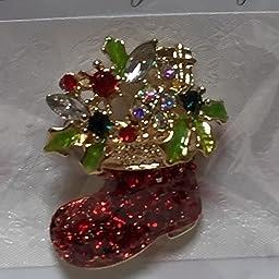 Amazon サンタさんの ブーツ型 キラキラ ブローチ クリスマスカラー ブローチ 通販