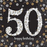 Amscan- Chispeante Celebración 50 Cumpleaños Servilletas, Color negro