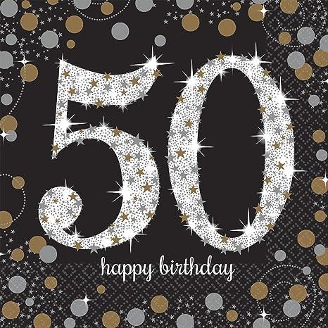 Amscan- Chispeante Celebración 50 Cumpleaños Servilletas, Color negro (511546)