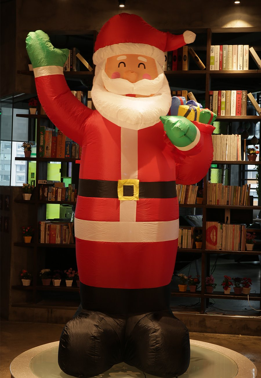 Fashionlite 6 Feet Christmas Xmas Inflatable Santa Claus Carry Gift Box Lighted Blow-Up Yard Party Decoration