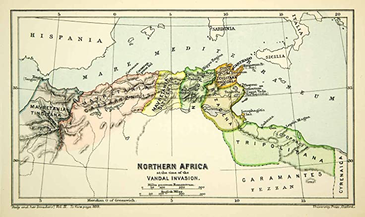 1892 Photolithographed Map Northern Africa Vandal Invasion Byzacena ...