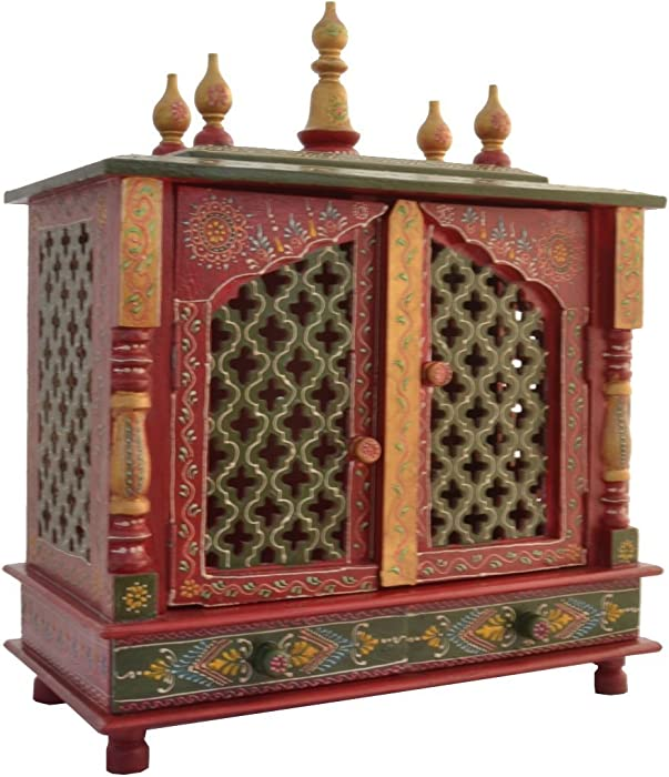 Wooden Temple/Home Temple/Pooja Mandir/Pooja Mandap/Temple for Home with White Light