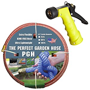Tuff-Guard 001-0101-0600-SN75 Thermoplastic Elastomer/Polyester/Polypropylene (PP)/Brass The Perfect Garden Hose, Coupled Male x Female GHT, 5/8