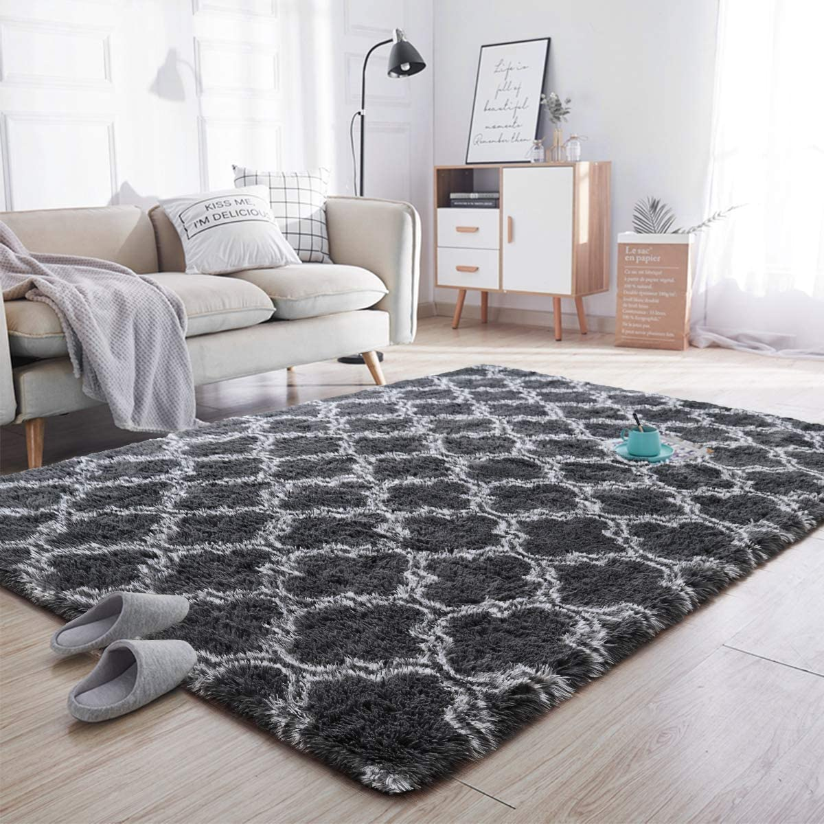 Noahas Soft Area Rugs for Bedroom Living Room Shaggy Patterned Fluffy Carpets for Nursery Baby Rooms Silky Smooth Fuzzy Kids Play Mats Christmas Thanksgiving Holiday Decor Rug, 5ft x 8ft, Ivory Black
