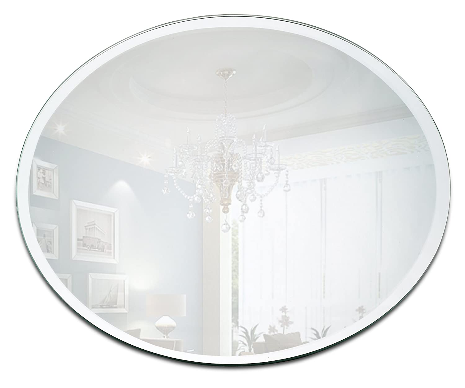 Round Mirror Candle Plate Set - Box of 12 Mirror Trays - 10 inch Diameter with Beveled Edge - Round Mirror for Centerpieces, Wall Décor, Crafts Wall Décor Light In The Dark COMINHKPR94046