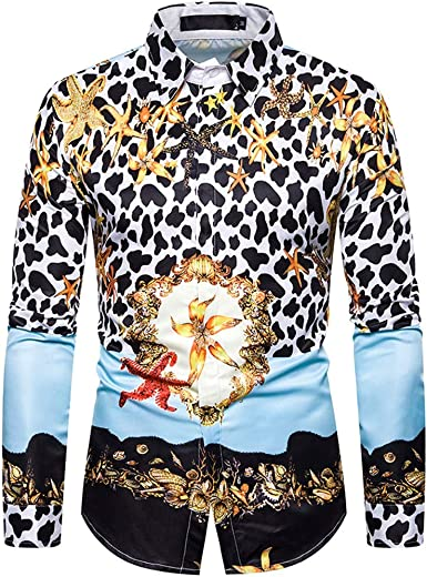 CAOQAO Camisa Hawaiana Hombre Autumn and Winter Fashion Personality Printed Long-Sleeved: Amazon.es: Ropa y accesorios