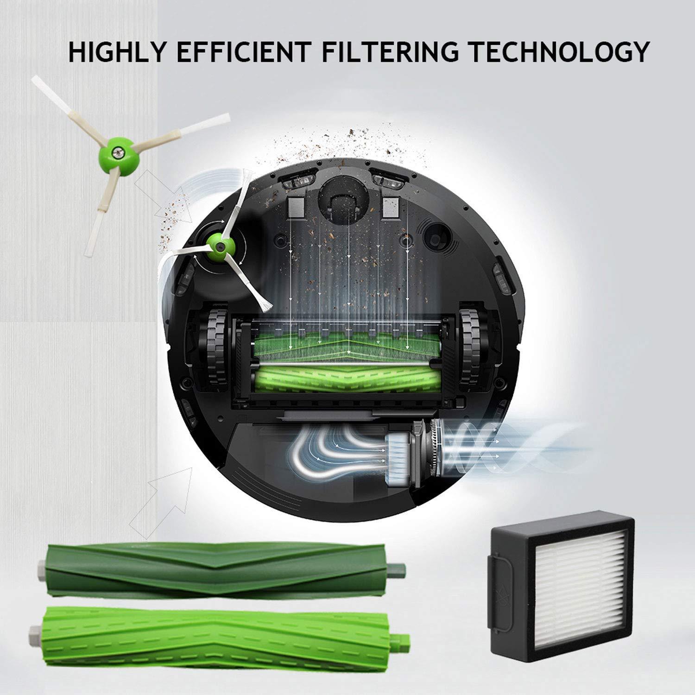 SODIAL 1 Juego Multi Cepillo de Superficie 3 Cepillo Lateral 2 Filtros de Alta Eficiencia para Roomba I7 I7+I7 Plus E5 E6 E7 Series-Accesorio del Filtro del Repuesto del Aspirador