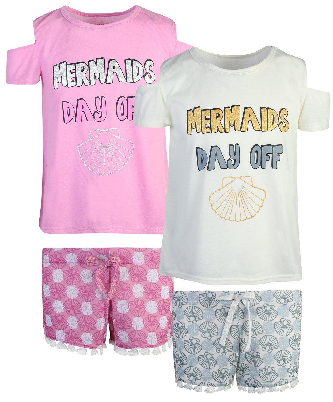 dELiAs 2-Pack Girls Pajama Sleepwear Short Set (2 Full Sets) (14/16, Mermaids Day Off)'