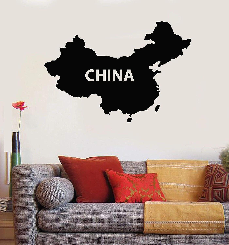 AGjDF Pegatinas de Pared de Mapa de China, Pegatinas de Pared de decoración del hogar, Pegatinas extraíbles, Pegatinas de decoración de Sala de Estar de Dormitorio Junto a la cama61x42cm