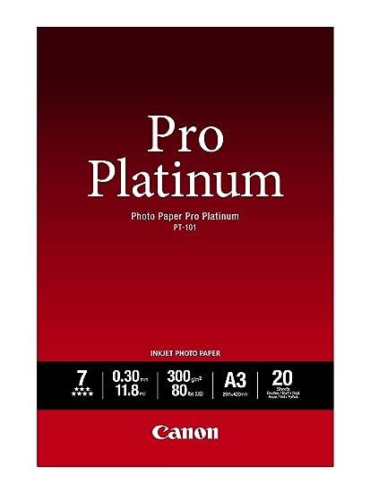 Canon PT-101 Pro Platinum - Papel Fotográfico (A3, 20 Hojas, 297 x 420 mm. 300 g/m²), Brillante