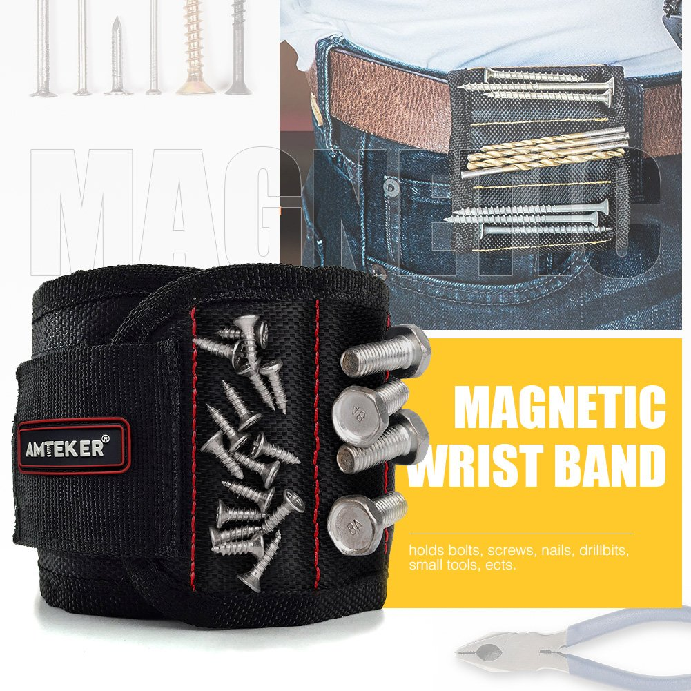 Amteker Magnetic Wristband with 10 Strong Magnets for Holding Screws, Nails, Drilling Bits and Small Tools - Best Unique Tool Gift for Men, Women, DIY Handyman (Black)